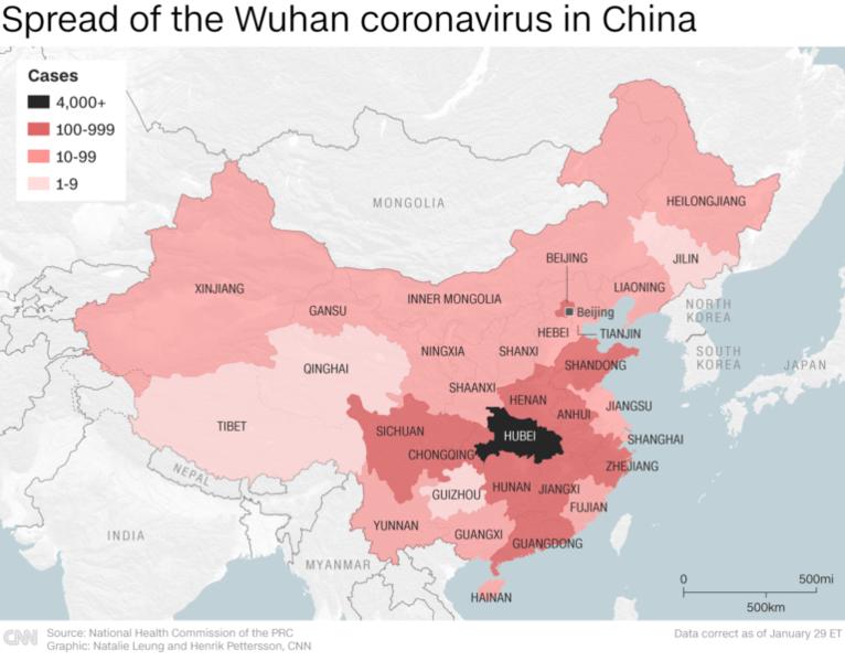 coronavirus affected areas